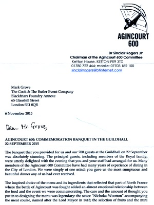 Agincourt 600 Committee - letter re Guildhall banquet, Sept 2015