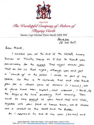 The Worshipful Company of Makers of Playing Cards - Thank you letter, Oct 2015